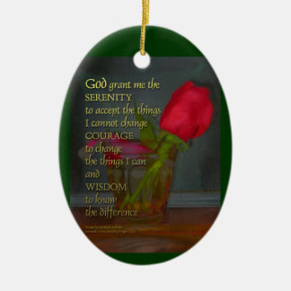 Serenity Prayer Rose in Glass Ceramic Ornament