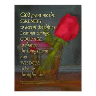 Serenity Prayer Rose in Glass 4.25x5.5 Paper Invitation Card