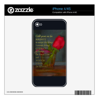Serenity Prayer Rose in Glass Skin For The iPhone 4
