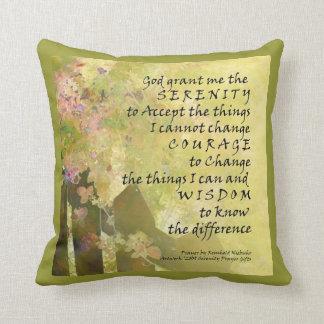 Serenity Prayer Rosebush and Fence American MoJo P Throw Pillows