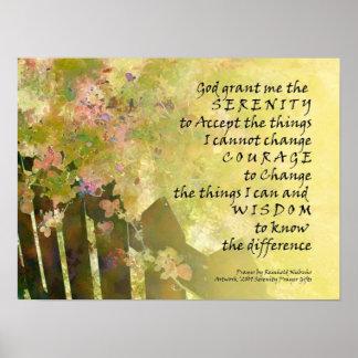 Serenity Prayer Rosebush & Fence Poster