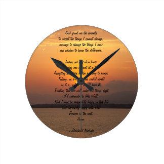 Serenity Prayer Round Clock