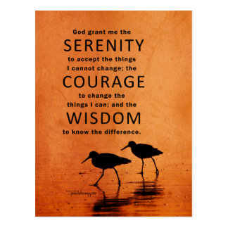 Serenity Prayer (Seagulls, Beach, God Grant Me) Postcard
