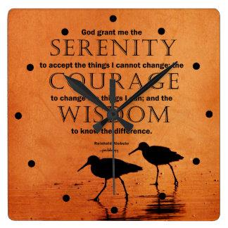 Serenity Prayer: Seagulls Square Wall Clock
