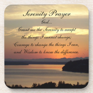 Serenity Prayer Seascape Sunset Coaster Set