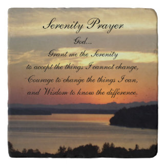 Serenity Prayer Seascape Sunset Photo Stone Trivet