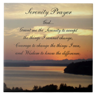 Serenity Prayer Seascape Sunset Photo Tile