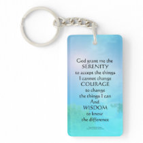 Serenity Prayer September Sky Keychain