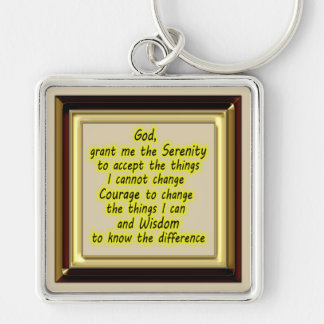 Serenity Prayer Silver-Colored Square Keychain