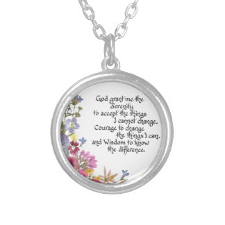 Serenity Prayer Silver Plated Necklace
