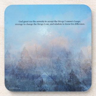 Serenity Prayer Sky and Trees Abstract Coaster