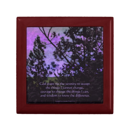 Serenity Prayer Sky and Trees Violet Gift Box
