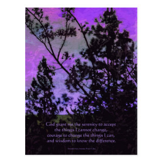 Serenity Prayer Sky and Trees Violet Postcard
