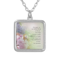 Serenity Prayer Spring Flowers Silver Plated Necklace