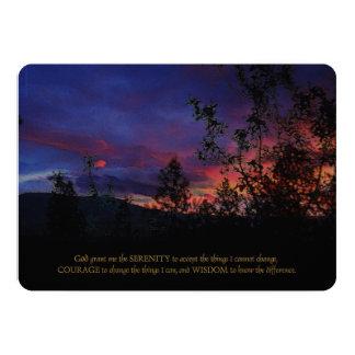 "Serenity Prayer Spring Sunrise Memorial 5"" X 7"" Invitation Card"