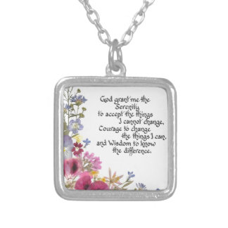Serenity Prayer Square Pendant Necklace