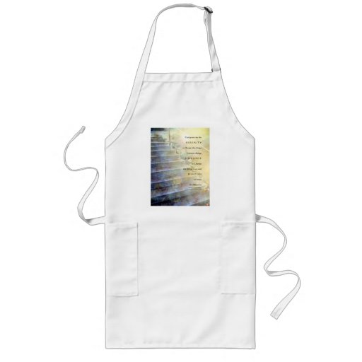 Serenity Prayer Steps Blue and Yellow Aprons