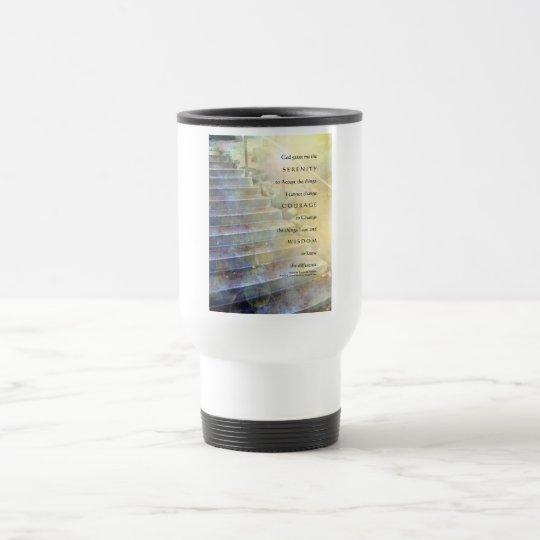 Serenity Prayer Steps Blue and Yellow Travel Mug