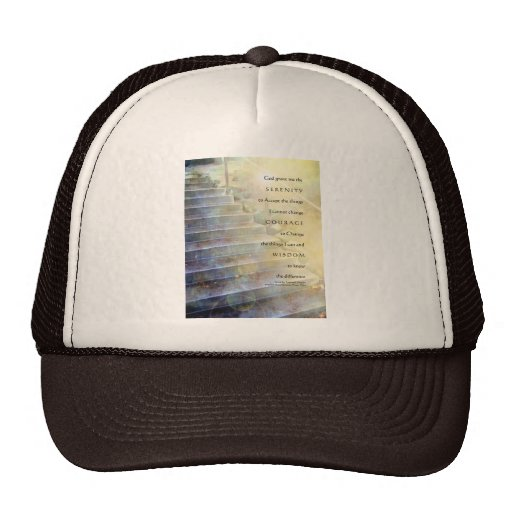 Serenity Prayer Steps Blue and Yellow Trucker Hat