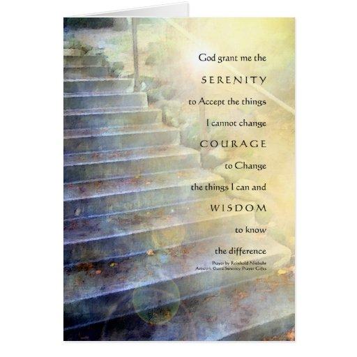 Serenity Prayer Steps Blue Yellow Card
