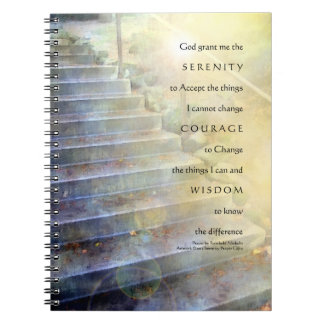 Serenity Prayer Steps Blue Yellow Notebook