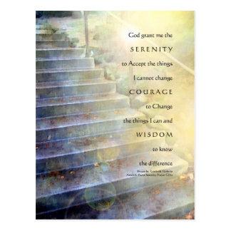 Serenity Prayer Steps Blue Yellow Postcard