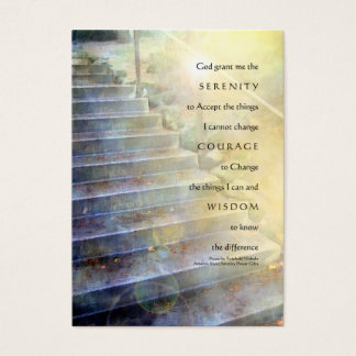 Serenity Prayer Steps Yellow Blue Business Card