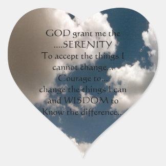 Serenity Prayer Summer Sky Heart Sticker