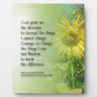 Serenity Prayer Sunflower 3 Display Plaques