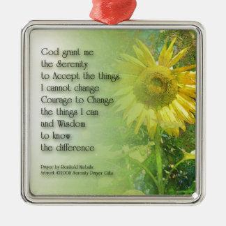 Serenity Prayer Sunflower 3 Metal Ornament