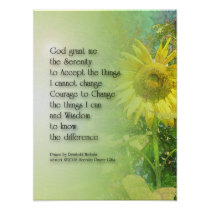 Serenity Prayer Sunflower 3 Poster