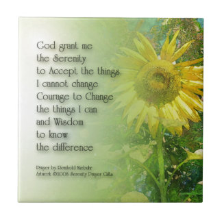 Serenity Prayer Sunflower 3 Tile