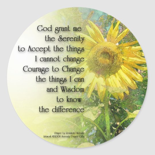 Serenity Prayer Sunflower Classic Round Sticker