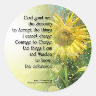 Serenity Prayer Sunflower Classic Round Sticker