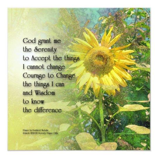 Serenity Prayer Sunflower Custom Invitation