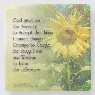 Serenity Prayer Sunflower Stone Beverage Coaster