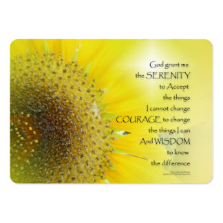 Serenity Prayer Sunflower Glow Large Business Card