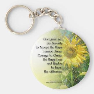 Serenity Prayer Sunflower Keychain