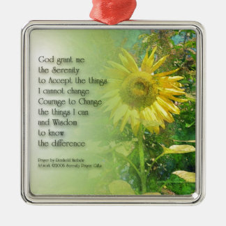 Serenity Prayer Sunflower Metal Ornament