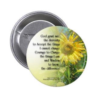 Serenity Prayer Sunflower Pinback Button