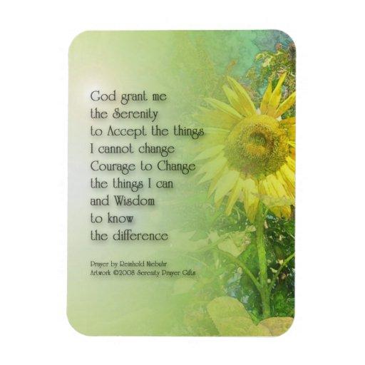 Serenity Prayer Sunflower Rectangular Photo Magnet