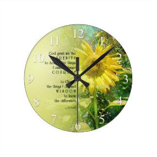 Serenity Prayer Sunflower Wall Clock