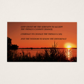 Serenity Prayer Sunset Business Card
