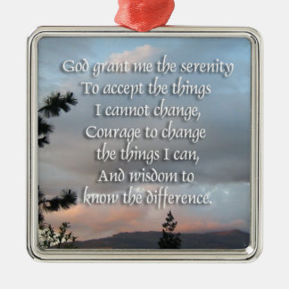 Serenity Prayer Sunset Metal Ornament