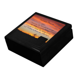 Serenity Prayer Sunset Silhouette Photo Keepsake Box