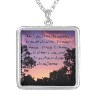Serenity Prayer Sunset Silver Plated Necklace