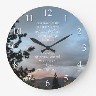 Serenity Prayer Sunset Wall Clock