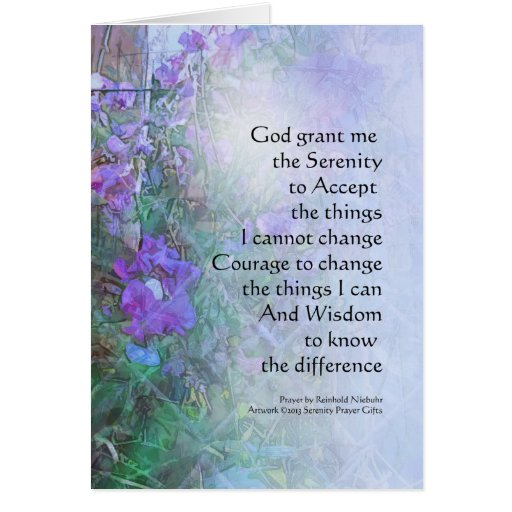 Serenity Prayer Sweet Peas and Fence Greeting Card