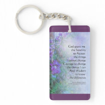 Serenity Prayer Sweet Peas and Fence Keychain