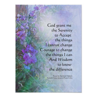 Serenity Prayer Sweet Peas and Fence Poster